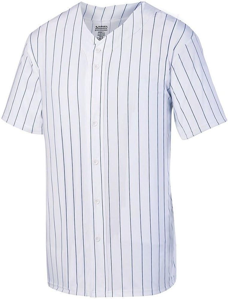 Pack of 3 Augusta Sports Boys Pinstripe Full Button Baseball Jersey