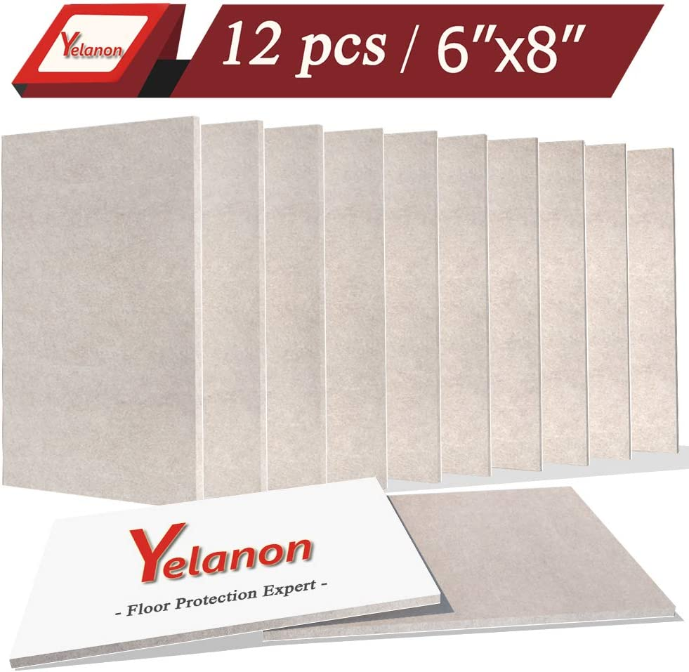 "Yelanon Felt Furniture Pads 12 Pack Self-Stick Furniture Felt Pads 6""x8"" Beige Heavy Duty Furniture Felt Sheets Wood Floor Protector Hardwood Furniture Leg Pads for Keep in Place Furniture"