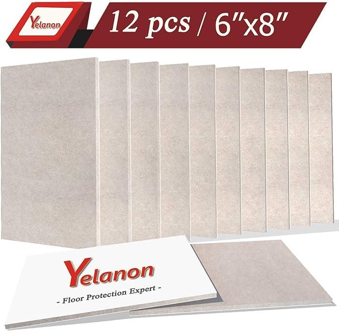 "Yelanon Felt Furniture Pads 12 Pack Self-Stick Furniture Felt Pads 6""x8"" Beige Heavy Duty Furniture Felt Sheets Wood Floor Protector Hardwood Furniture Leg Pads for Keep in Place Furniture"