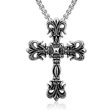 Amazon Com Stainless Steel Simple Cross Pendant Vintage Necklace