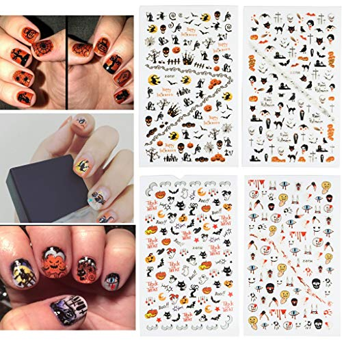 Fanme Halloween Nail Stickers 3D Nail Art Tattoo Decals DIY Nail Art Decoration Self-adhesive Tip Stickers 4Sheets (Halloween)