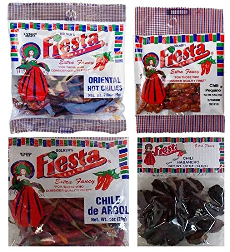 Bolner's Fiesta Extra Fancy Dried Chili Peppers 4 Flavor Variety Bundle: (1) Oriental Hot Chilis, (1) Habanero (Very Hot!) Chilis, (1) Chili Pequin Pods, & (1) Chile de Arbol Chilis, .25-1.0 Oz Ea