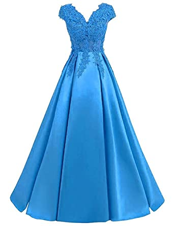 LOVING HOUSE Women\'s V Neck Lace Prom Dresses Long Beaded Sequins A ...