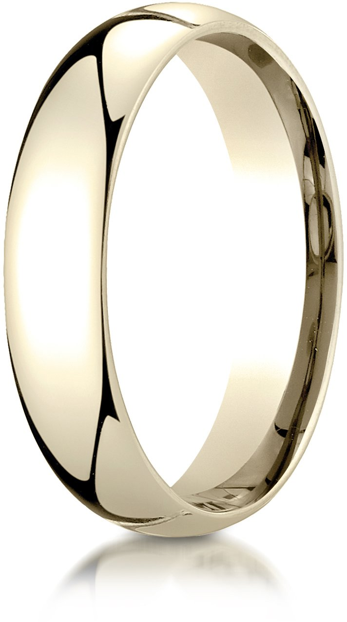 Benchmark 14K Yellow Gold 5mm Slightly Domed Super Light Comfort-Fit Wedding Band Ring, Size 13.5