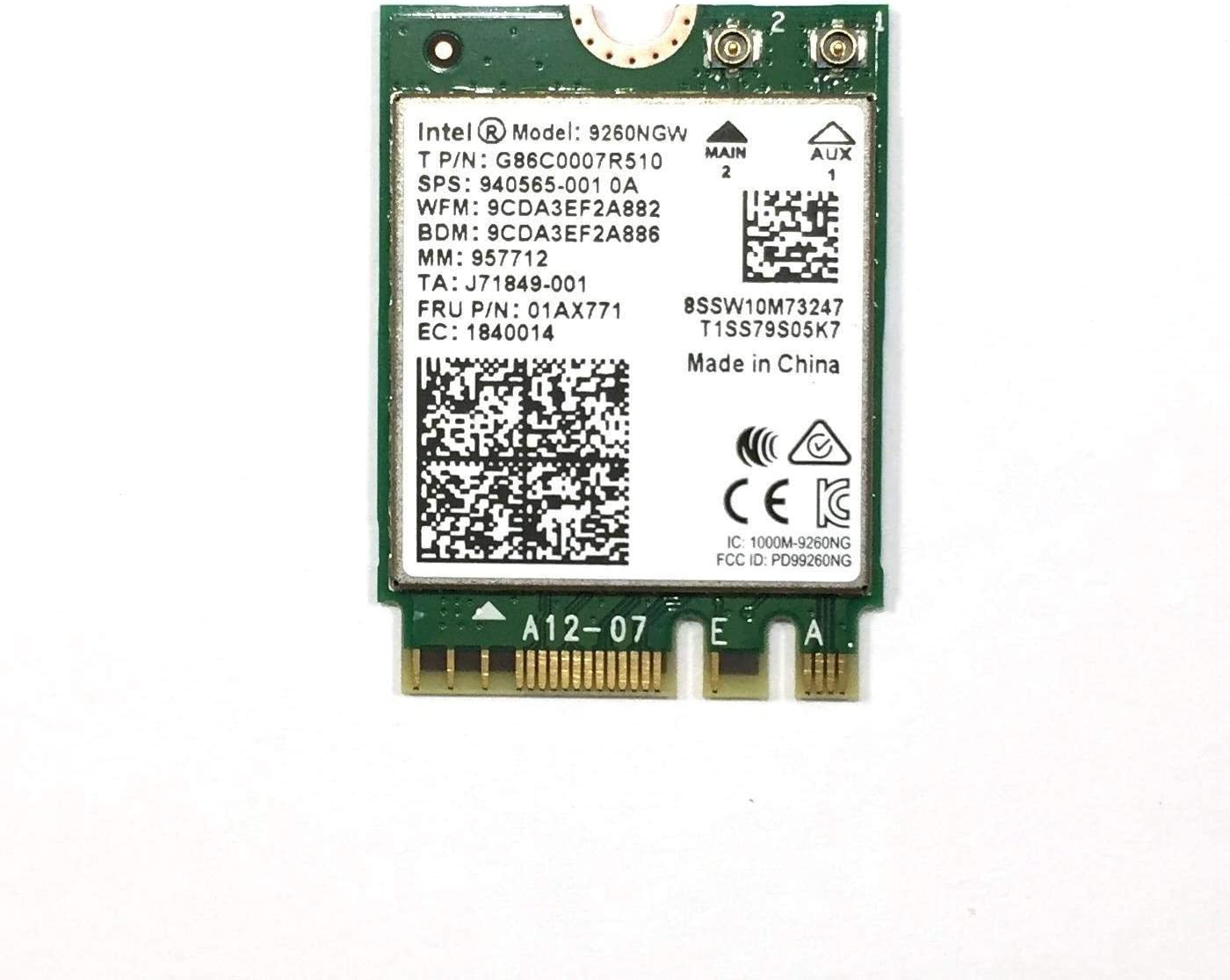 Intel 9260 AC Dual Band Antennas 1730Mbps 802.11ac BT 5.0 PCI-E 1X Desktop card