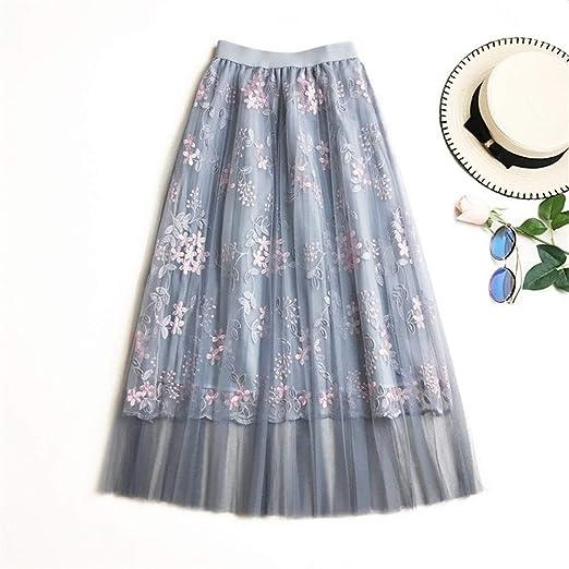 Haucalarm Faldas de Tul for Mujer Bordado Floral Cintura Alta ...