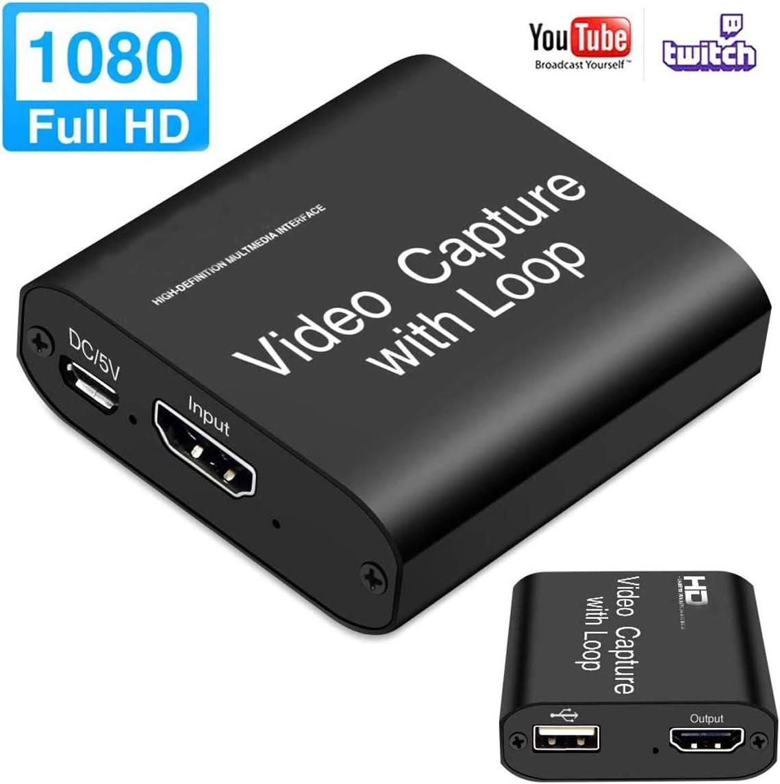 MOSOY - Tarjeta de captura de vídeo HDMI con bucle, 4K HD 1080P 60FPS USB 2.0 tarjeta de captura para transmisión en vivo: Amazon.es: Electrónica