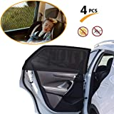 Globalgather Car Window Shade(4 Pack), 1 Pair Front & 1 Pair Rear Car Window Shade, Universal Car Side Window Sunshades Breathable Sun Shade Mesh Shield, Fit for All Most Small Car