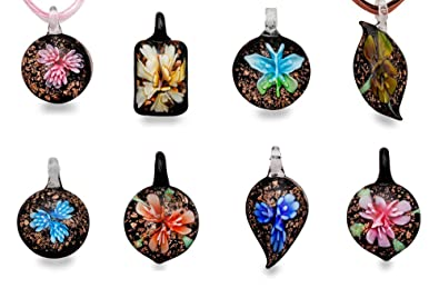 Amazon bundle monster colorful assorted glass murano floral bundle monster colorful assorted glass murano floral pendant necklace 8pc set 18quot aloadofball Image collections