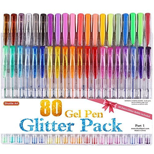 Shuttle Art 80 Colors Glitter Gel Pens, 40 Colors Glitter Gel Pen Set with 40 Refills for Adult Coloring Books Craft Doodling