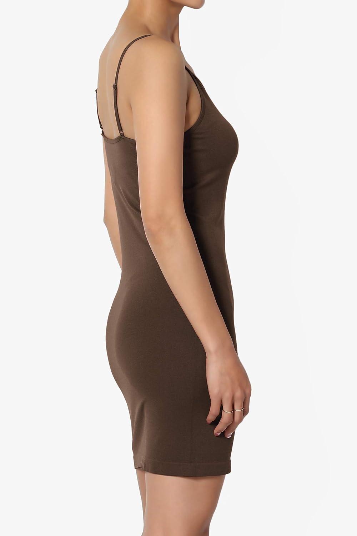 TheMogan S~3X Adjustable Strap Seamless Long Cami Bodycon Full Slip Under Dress