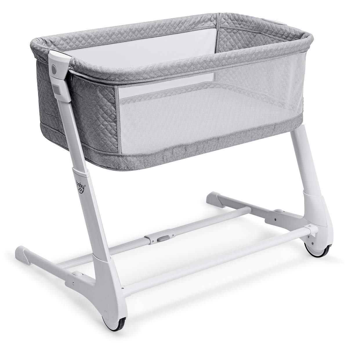 Straps BABY JOY Baby Bedside Crib Cradle for Newborn Infants White 2-in-1 Height Adjustable Sleeper Bassinet with Detachable /& Washable Mattress
