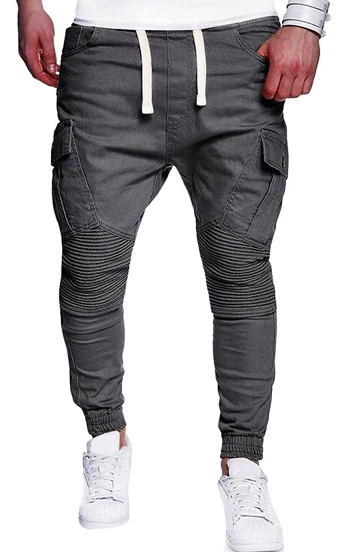 Frieed Mens Ruched Closed Bottom Leisure Drawstring Stitching Solid Pants