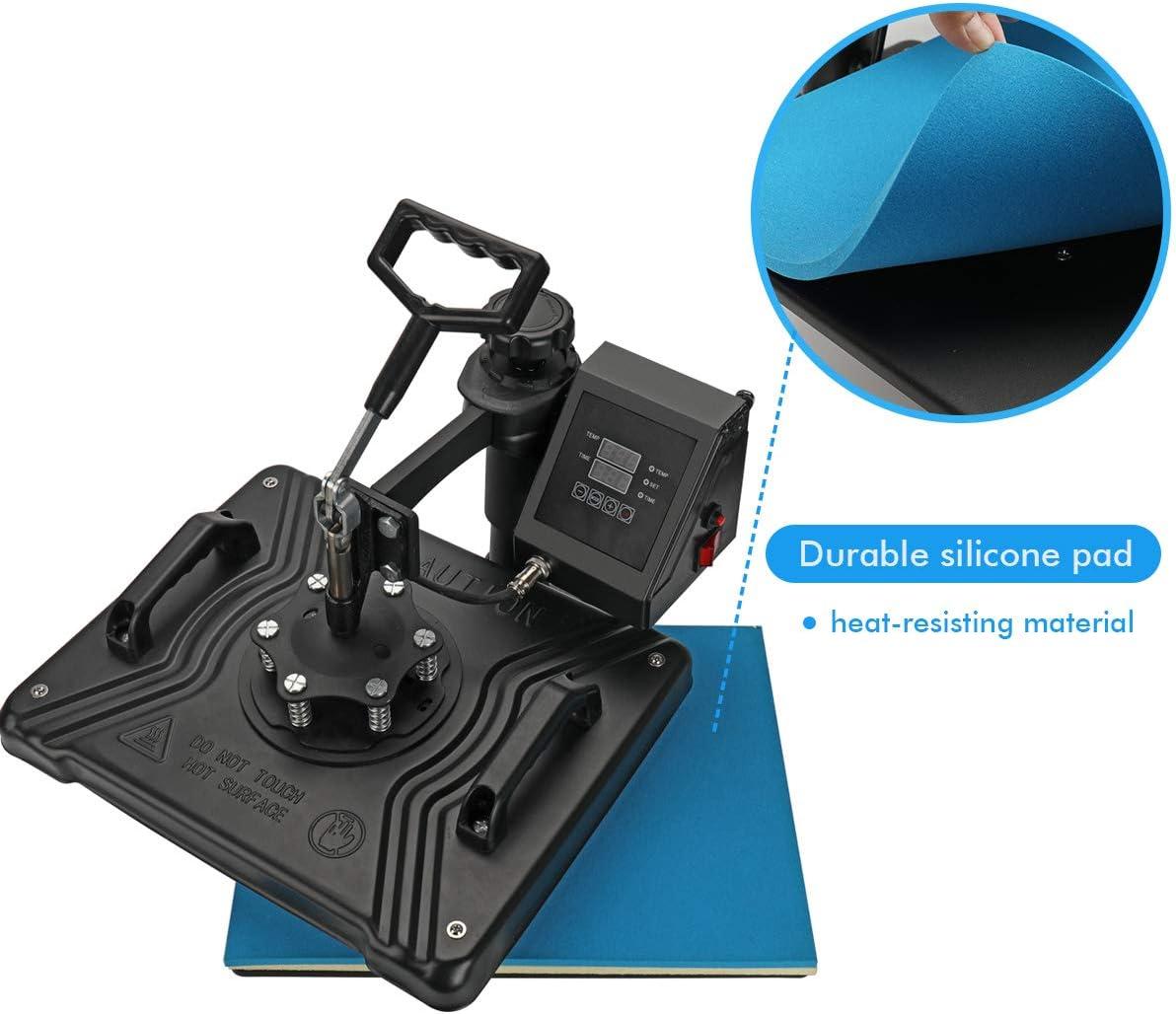 multifuncional rotaci/ón de 360 grados Aonesy Pro 8 en 1M/áquina de prensado en caliente para camiseta tapa m/áquina digital de sublimaci/ón de transferencia de calor taza sombrero 38 x 30 cm