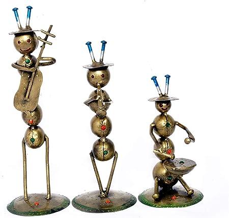 Jaipur Handicrafts - Juego de 3 centros de Mesa de Metal diseño de Hormigas músico para recámara, Sala de Estar, Estatua India para decoración del hogar: Amazon.es: Hogar