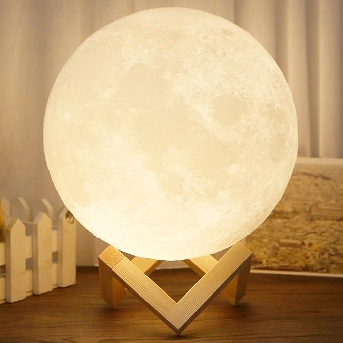 Awhao Luz de luna 3D impresión Luna lámpara innovadora regalo par noche luz táctil interruptor doble color LED luz (20cm): Amazon.es: Iluminación