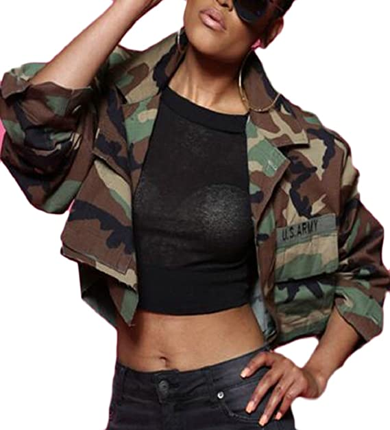 cc8b65737ab67 RRINSINS Women Fashion Lapel Long Sleeves Camouflage Print Loose Jacket Crop  Top at Amazon Women s Coats Shop