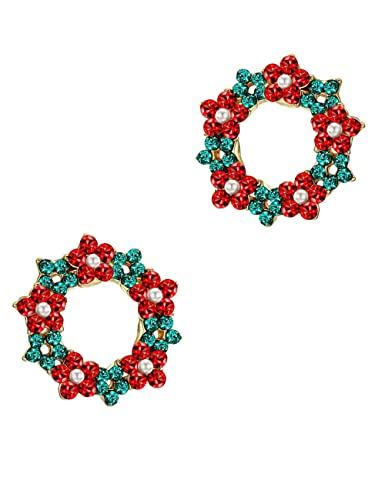 16b8310d11014 Amazon.com: Mints Christmas Wreath Stud Earrings Crystal Rhinestone ...