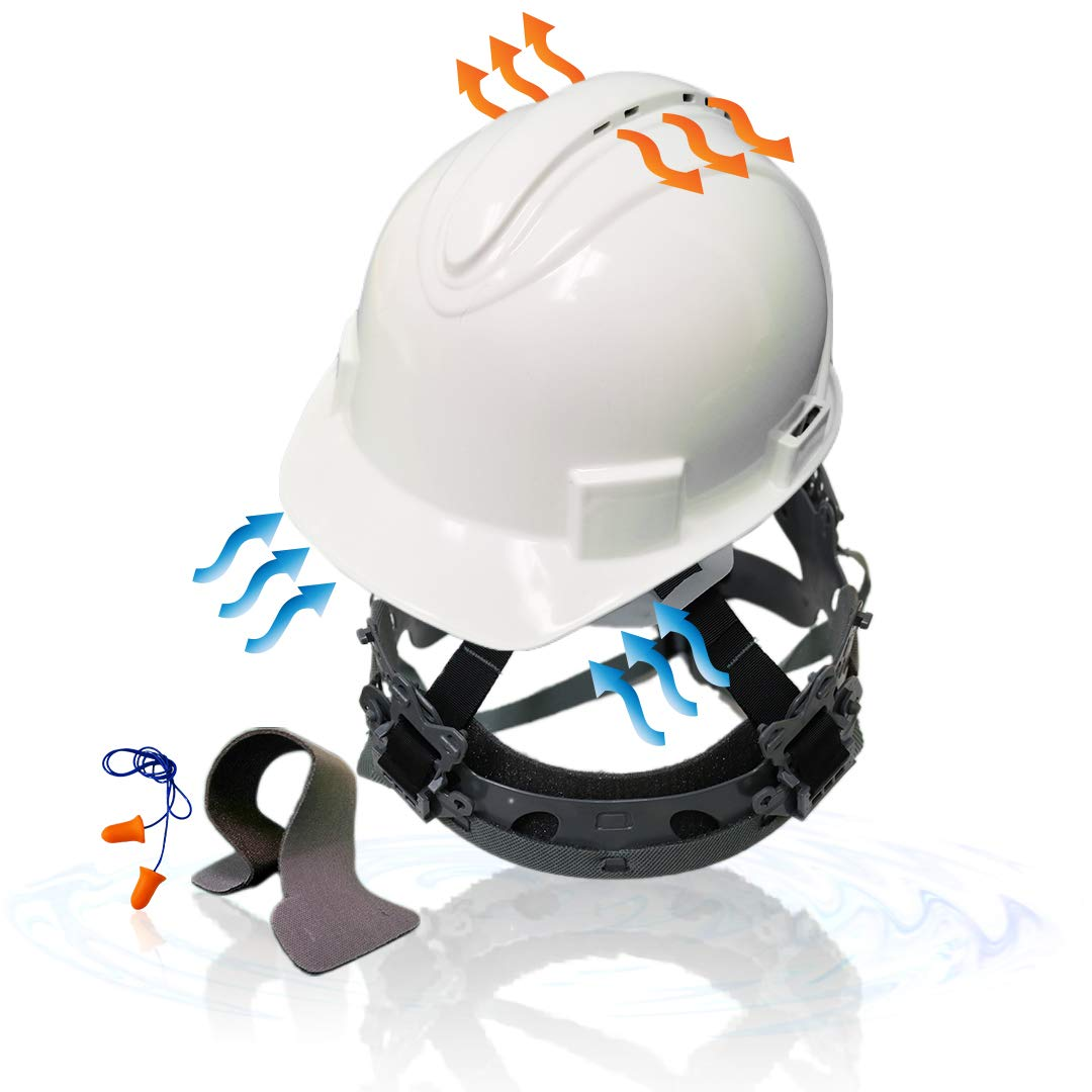 KwikSafety (Charlotte, NC) TURTLE SHELL (10 Vents FREE Extra Sweatband Earplugs) Standard Cap Style (One Size FITS MOST) ANSI Hard Hat Construction Safety Helmet OSHA Lightweight Type 1 Class C White by KwikSafety