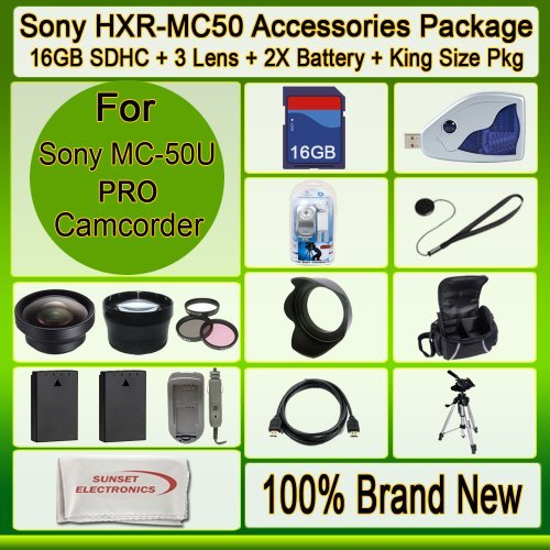 Advanced Accessories Kit for Sony Hxr-mc50u Hxrmc50u Mc-50u Advanced Accessories Kit for Sony Hxr-mc50u Hxrmc50u Mc-50u Mc50u Mc50 U Including 2x Extended Long Life Batteries + Ac/dc Rapid Home/car Charger + Wide Angle Lens + 2x Telephoto Lens + 3 Pcs Fil by Digital