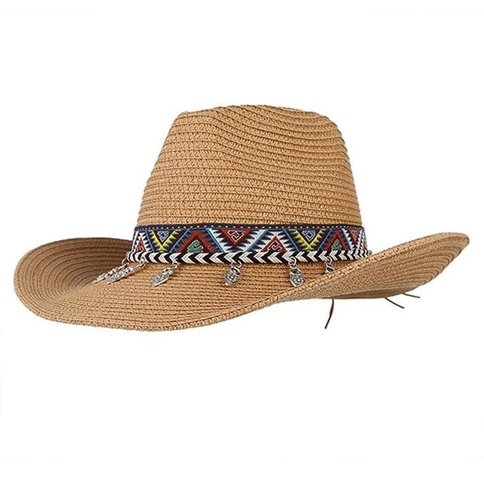 8f4eb616aad5 August Jim Sombreros de Paja para Hombre, de Verano, Playa, Sombrero ...