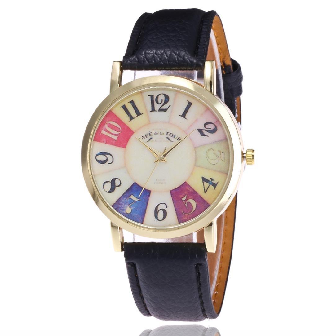 Yes Mile Relojes, Reloj unisex de moda reloj de pulsera con números romanos cuero PU aleación banda elegante pulsera mujeres Casual analógico de cuarzo ...