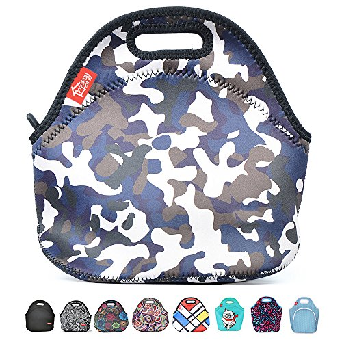 Neoprene Lunch Tote, Yookeehome Insulated Thermal Lunch Bag Box for Boys Men with Zipper, Camouflage (Lunch Insulated Kids)