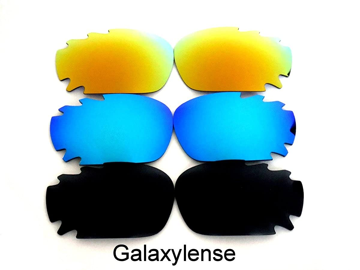 623727258b Galaxy Replacement Lenses for Oakley Racing Jacket Black Blue Gold Polarized  3Pairs  Amazon.co.uk  Clothing