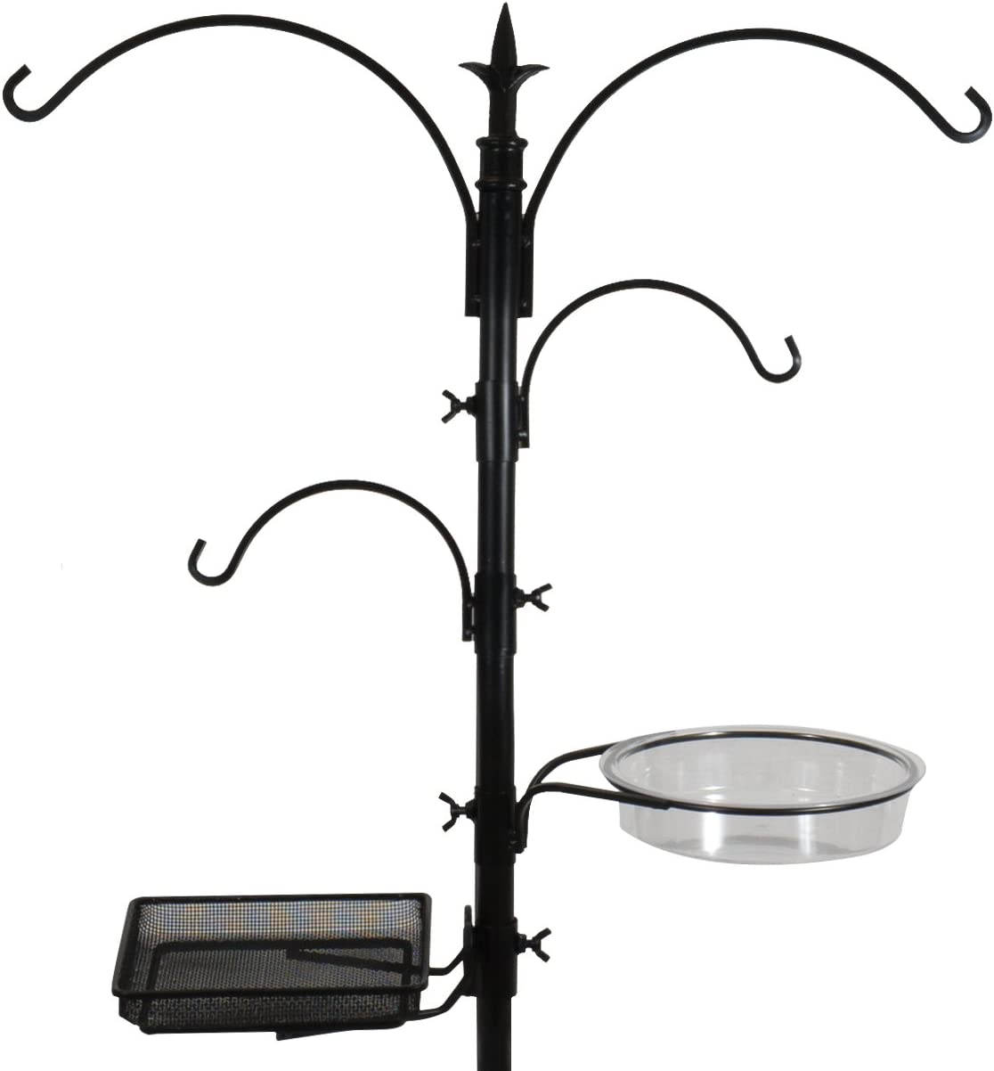 Sorbus Bird Feeding Bath Station, Metal Deck Pole for Bird Feeders, Great for Attracting Birds Outdoors, Backyard, Garden (Bird Bath Feeder Station - Black)