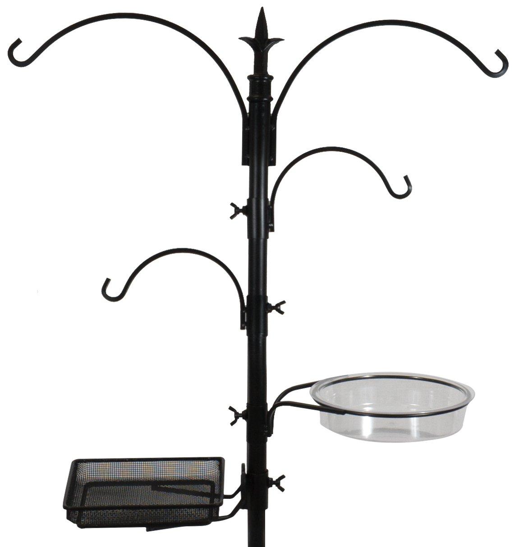 Sorbus Bird Feeding Bath Station, Metal Deck Pole for Bird Feeders, Great for Attracting Birds Outdoors, Backyard, Garden