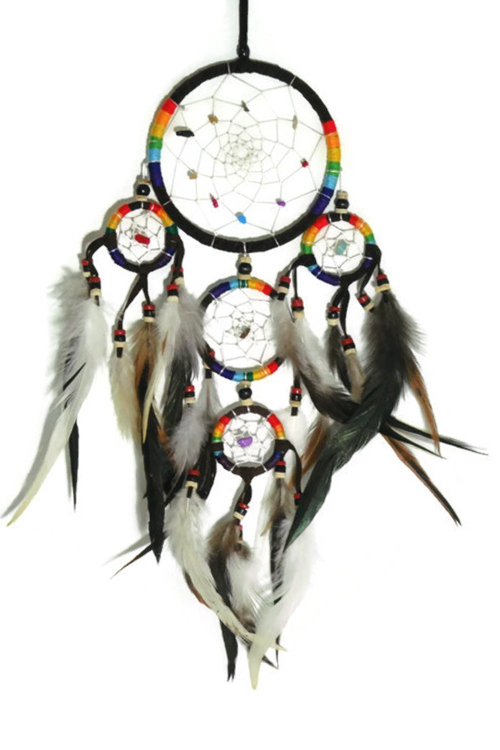 Bright Multi Colors DMD4 APECTO Handmade Dream Catcher Circular Net with Feathers Wall Hanging Decor Ornament Craft Dark Brown