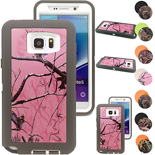 Kecko® Heavy Duty Defender Series Natural Tree Camo Shockproof Impact Resistant Hybrid Rugged Builders Workman Body Protective Case Skin w/ Built-in Screen Protector for Samsung Galaxy Note 5