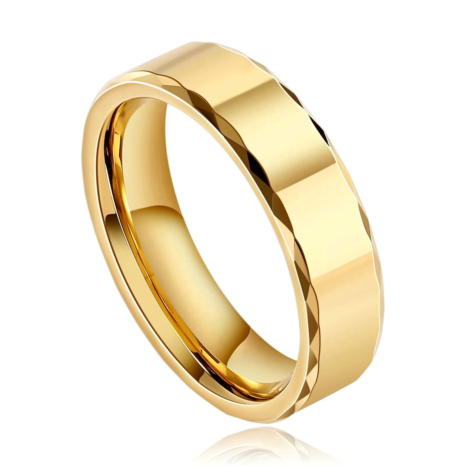 Beydodo Tungsten Rings Anniversary 6mm Gold Comfort Fit High Polished Biker Rings Size 8 Hip Hop Jewelry