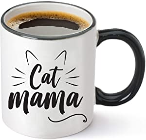 Cat Mama Funny Coffee Mug 11oz - Unique Christmas Gift Idea for Cat Lovers - Perfect Birthday Gifts for Women - Cat Mom Cup