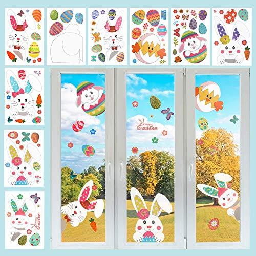 LAMEK 9 Hojas Etiquetas Engomadas de la Ventana de Pascua Pegatinas de Dibujos de Huevos de Conejito Animados Patrón de…