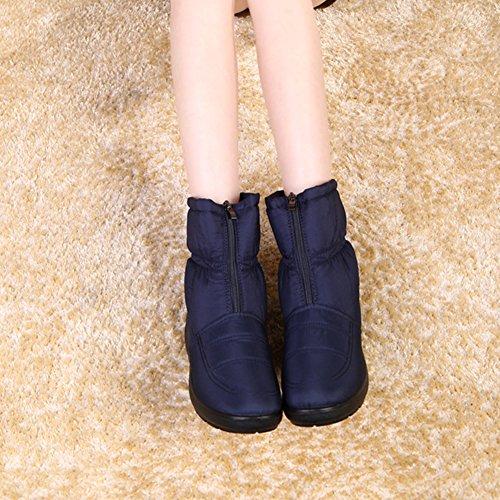 Chaussure 42 Bottine Mi 40 Hiver Taille Wealsex Neige Confort Femme De Plate 41 Imperméable Mollet Souple Grande Fourré Bleu Antidérapant Chaud AqHSnvSdxw