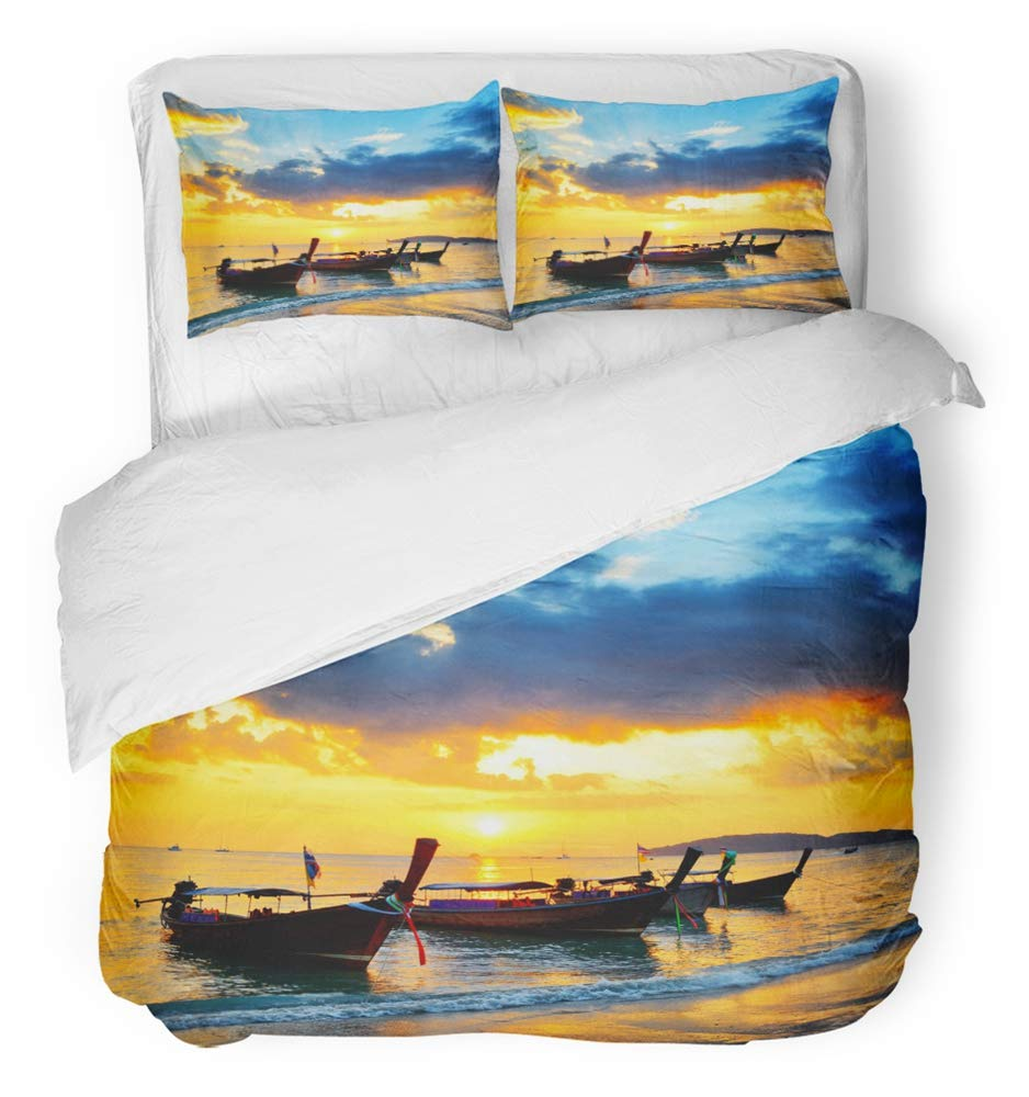Emvency Bedsure Duvet Cover Set Closure Printed Decorative Blue Sea Traditional Thai Boats at Sunset Beach Ao Nang Krabi Province Orange Breathable Bedding Set With 2 Pillow Shams Twin Size by Emvency