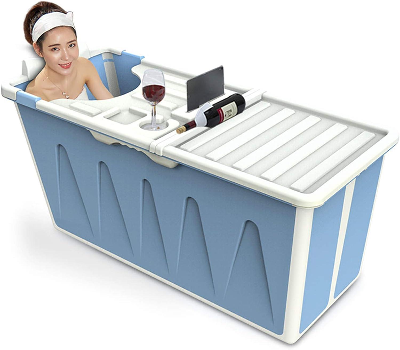 Bañera Plegable Adulto Ducha Portátil, Plástico Grande Tina De BañO Con Tapa Inicio De Cuerpo Completo, Piscina Para NiñOs, BañEra Bebes Resistencia A Altas Temperaturas(blue)