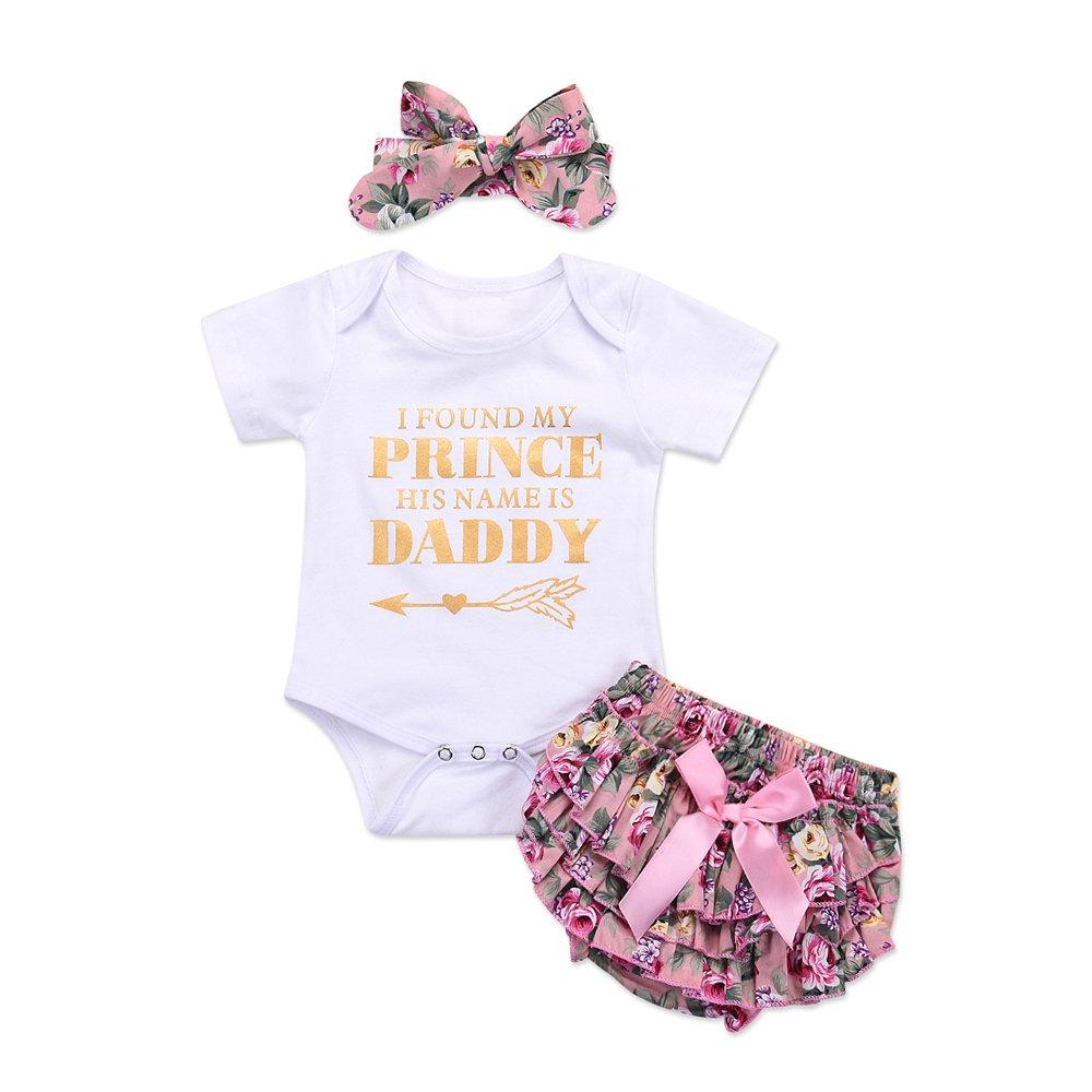 Catpapa 3PCS Newborn Baby Girl Romper Jumpsuit Bodysuit +Pants Shorts+Headband Outfit Set