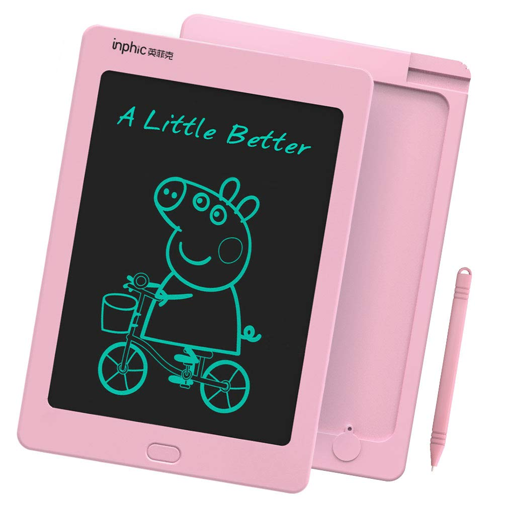 INPHIC LCD Writing Tablet 8.5 Inch Great Doodle Board with Stylus Smart Electronic Notepad for Drawing Noting Scribbling Pink