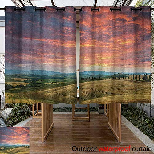 AndyTours Curtains for Living Room,Tuscany,Tuscany Italy Cypress Trees and Fields Crop Cloudy Sky Holiday Destination,Room Darkening, Noise Reducing,K140C115 Vermilion Khaki