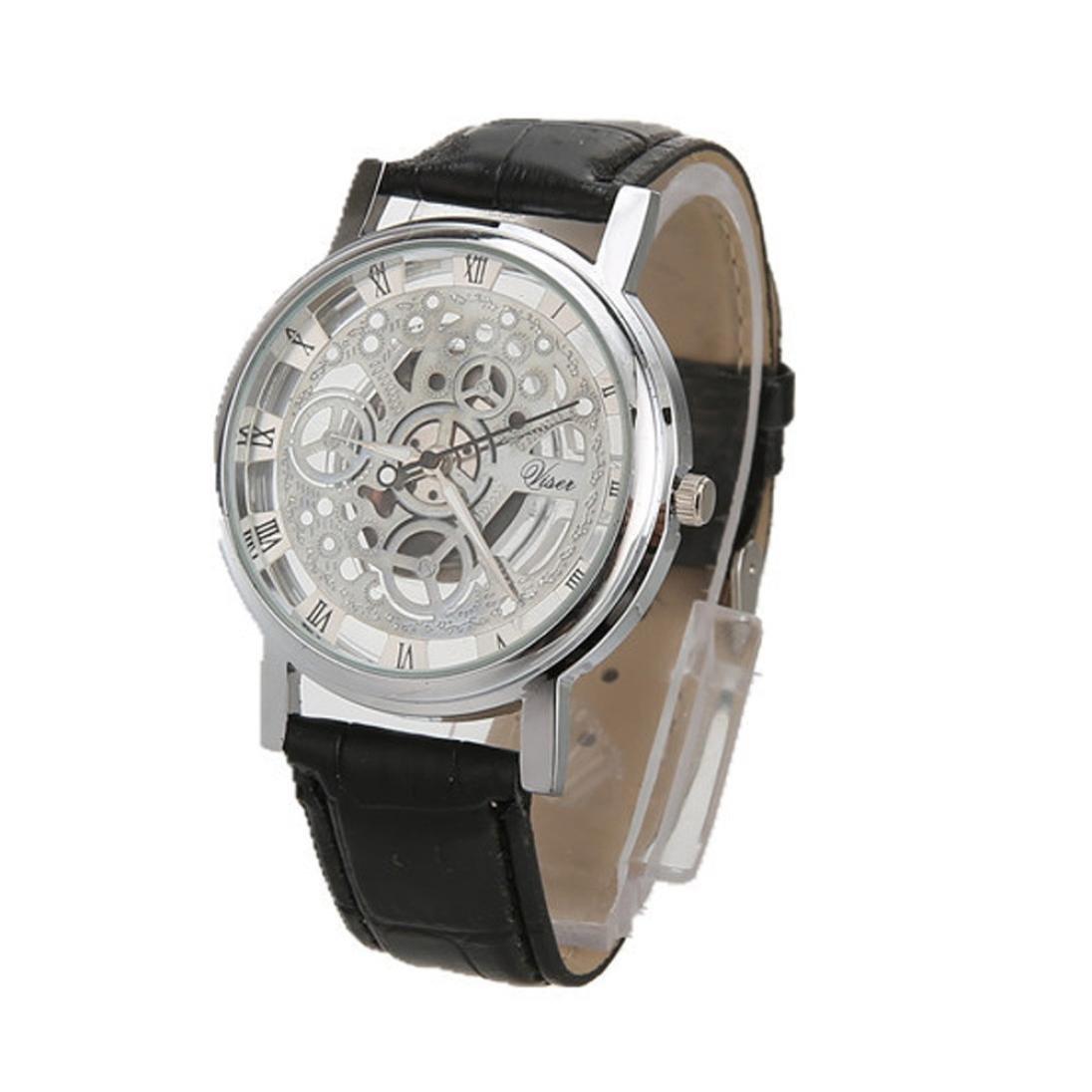 Relojes Hombres de lujo de cuarzo de acero inoxidable de cuero ...