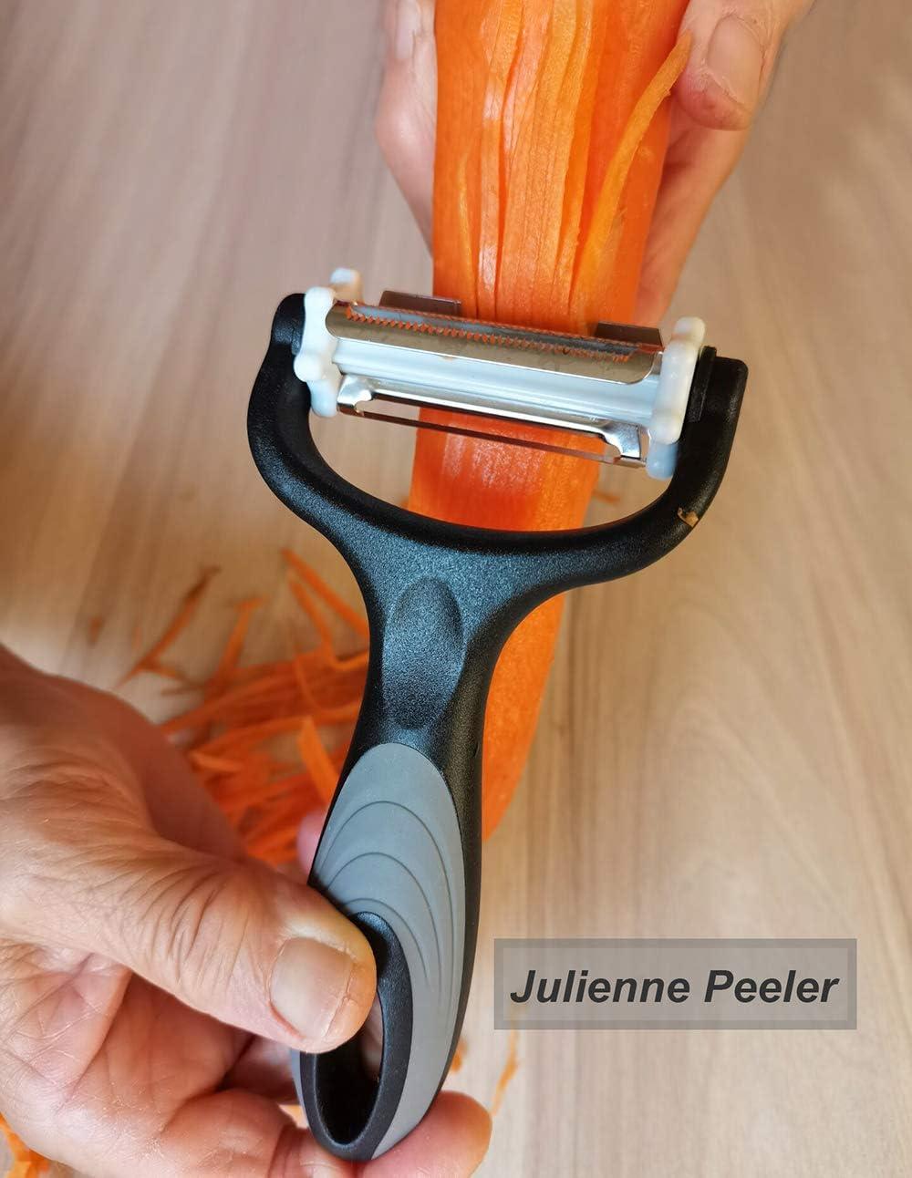 Y Peeler,Serrated Peeler/&Julienne Peeler ,Premium Stainless Steel Peelers for Veggie,Carrot,Fruit. YUSENONA 3-in-1 Multipurpose Peelers for Kitchen Potato Peelers,Veggie Peeler /& Fruit peeler