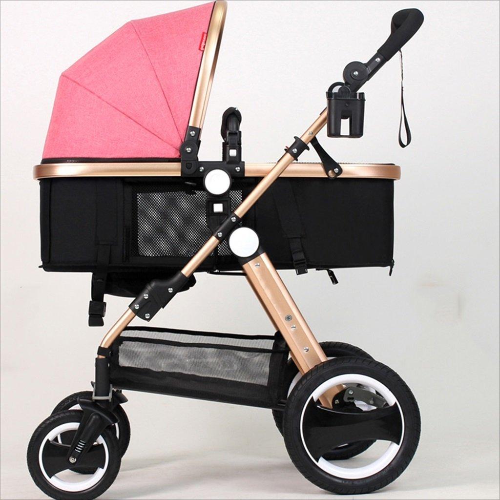 新生児の赤ちゃんキャリッジ折りたたみ可能な座って、1ヶ月のためのダンピングの赤ちゃんカートに落ちることができます 3歳の赤ちゃんの双方向四輪ベビートロリーを振るのを避ける (色 : ピンク ぴんく) B07DVB541Z ピンク ぴんく ピンク ぴんく