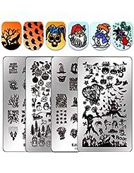 Ejiubas NEW Halloween & Christmas Stamping Plates Nail Stamp Templates Double-sided Nail Stamping Kit DIY Nail Art Salon Design