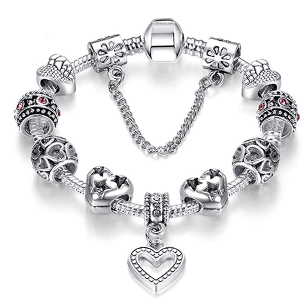 FHLJguil Fashion Silver Color Heart Charms Bracelet Bangle for Women Crystal Beads Fit Original Bracelets Women Jewelry PS3738 17cm