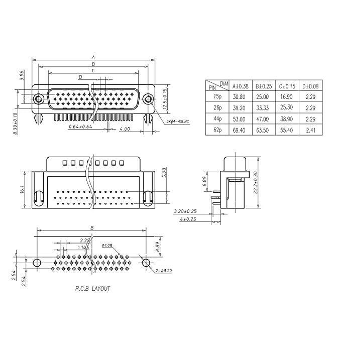 sourcing map Conector D-Sub macho enchufe 44-pin 3 filas puerto terminal soldadura tipo negro 1pc