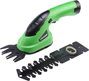 Lichamp 2-in-1 Electric Hand Held Grass Shear Hedge Trimmer Shrubbery Clipper Cordless Battery Powered Rechargeable for Garden and Lawn, CGS-3601 3.6V Grass Green