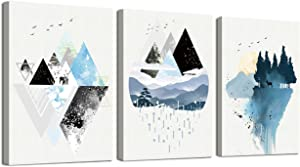 Abstract Geometry Canvas Prints Wall Art Paintings Mountain Scenery Elk Artworks Pictures for Living Room Bedroom Decoration 12x16 Inch 3 Panels
