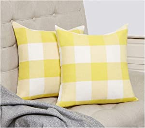 RABUSOFA Yellow and White Buffalo Check Plaid Throw Pillow Covers,18 x 18 Inches Set of 2, for Fall Home Decor (Yellow, 18